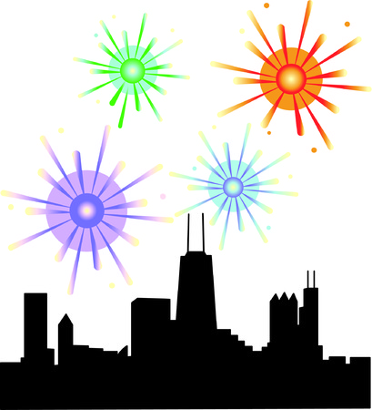 Chicago knows how to throw a celebration!  These fireworks over Chicago illuminate the skyline of this amazing city...for any celebration. Illustration