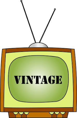 old style lettering: A TV that is a throwback to the days of black and white.  Fun design for specialty shirts or caps. Illustration