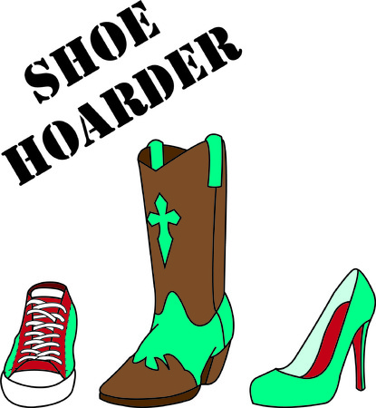 all right: A girl cant have too many shoes!  From boots to pumps to sport we got em all right here!  Such a fun design for a special cap or shirt. Illustration