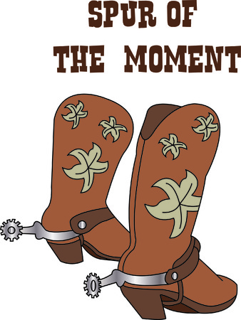 Got them spurs and ready to ride!  Pretty boots go an excellent job of decorating your cowboy gear! Illustration