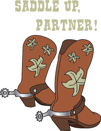 buckaroo: Got them spurs and ready to ride!  Pretty boots go an excellent job of decorating your cowboy gear! Illustration