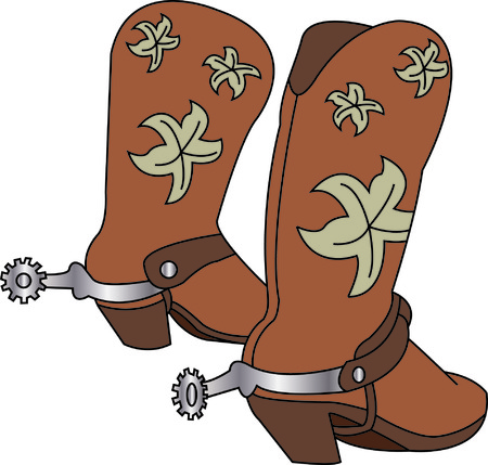 Got them spurs and ready to ride!  Pretty boots go an excellent job of decorating your cowboy gear! Stock Vector - 43673432