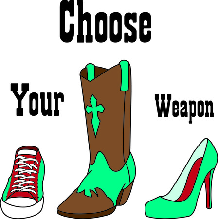 A girl can't have too many shoes!  From boots to pumps to sport we got 'em all right here!  Such a fun design for a special cap or shirt.