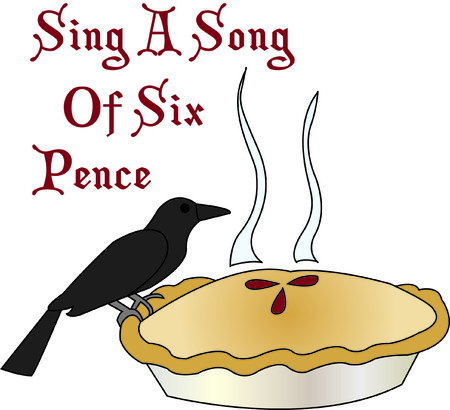 pence: Sing a song of six pence blackbird in a pie!  This unique design can be used to create some kitchen dcor second to none and like no other!