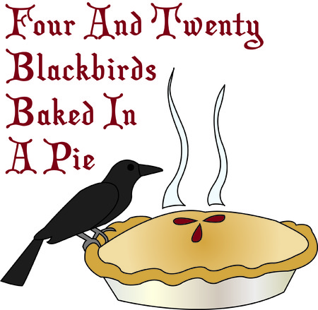 Sing a song of six pence blackbird in a pie!  This unique design can be used to create some kitchen dcor second to none and like no other!