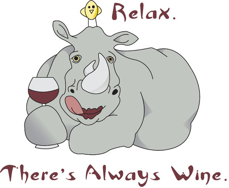 vino: Relax with a nice glass of vino, this lipsticked rhino and his little bird friend.  We think it is sure to generate a smile and is too cute on a gifting shirt!