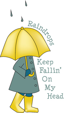 Our sweet little girl loves a walk in the rain - remember how fun that was  Bring back fond memories and fun times when you add this pretty design to your rain gear or quilt. Illustration