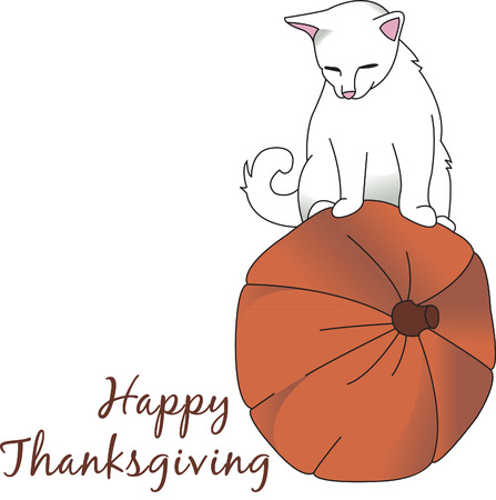 feline: This Thanksgiving design is perfect for feline lovers!  A cat at play on a pumpkin is so perfect for that special fall dcor!