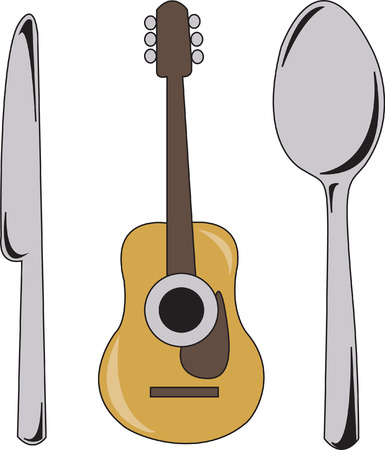 garments: How about some dinner music  This fun take on folk music is a perfect embellishment for your favorite musician.  Try it on garments or table linens! Illustration
