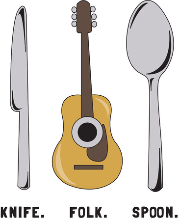 implements: How about some dinner music  This fun take on folk music is a perfect embellishment for your favorite musician.  Try it on garments or table linens! Illustration