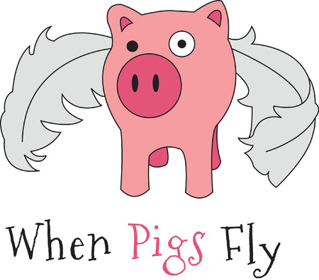 sowing: So many things might happen - when pigs fly!  The legendary flying pig is ready to decorate your apparel or fun projects.  He is sure to be a hit!