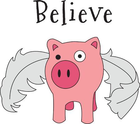 So viele Dinge passieren könnte - wenn Schweine fliegen! Der legendäre Fliegenschwein ist bereit, Ihre Kleidung oder Spaß Projekte schmücken. Er ist sicher, ein Schlag zu sein! Standard-Bild - 43673620