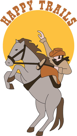 herder: Ye haw!  Here we g for a wild west rodeo!  This cowboy and his stallion are ready to add a touch of the wild west to your project. Illustration