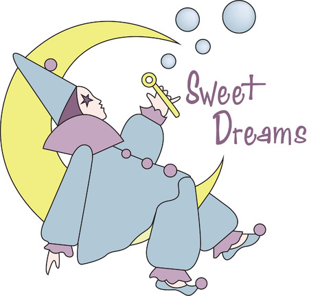 adds: The harleguin moon adds a touch of whimsy to dcor or apparel.  This bubble blowing cutie is a sure eye catching decoration.  Imagine where you can use this amazing design. Illustration
