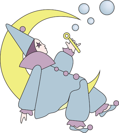 buffoon: The harleguin moon adds a touch of whimsy to dcor or apparel.  This bubble blowing cutie is a sure eye catching decoration.  Imagine where you can use this amazing design. Illustration