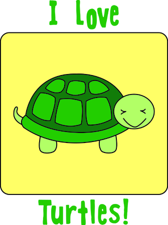 This little turtle adds sweetness and charm to your embroidery works.  The silky fill stitch background helps the turtle to stand out and get noticed. Illustration