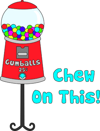 chew: Tasty gumballs in a retro style gumball machine make a interesting way to decorate - especially for the little guys!  The colors create an amazing way to showcase your embroidery talents!