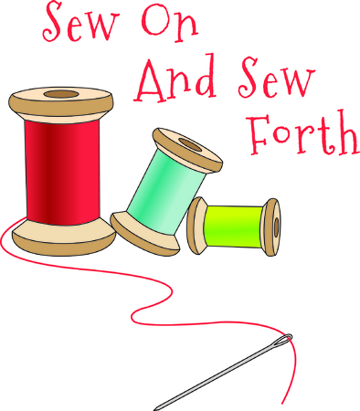 sewing supplies: Thread spools are the perfect design to create some special gifting for your favorite seamstress.  Love this design on shirts and bags to hold sewing supplies! Illustration