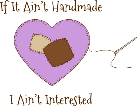 sewn: Sew a pretty patchwork onto your project.  It looks like a sewn on heart but its actually much, much easier - just a fill stitch with a lovely outline.