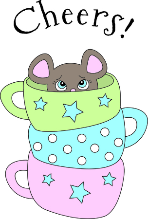 You might think this is just a stack of pretty tea cups.  Look closer for the cute little mouse peeking out!  Cute, colorful and easy to stitch a great design to add to your collection!