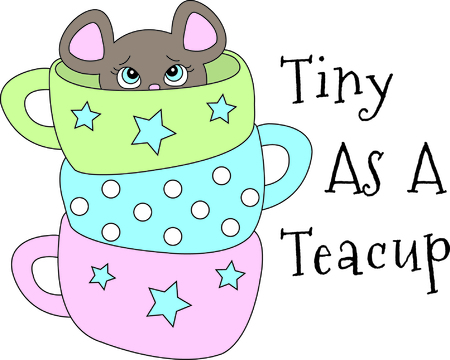 closer: You might think this is just a stack of pretty tea cups.  Look closer for the cute little mouse peeking out!  Cute, colorful and easy to stitch a great design to add to your collection!You might think this is just a stack of pretty tea cups.  Look closer