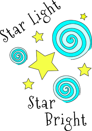 Look up into the night tie sky for stars and swirly streamers!  This heavenly design is so pretty on baby gear or nursery dcor. Illusztráció