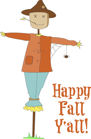 hallows: A scarecrow stands ready to keep the garden predators at bay. He is a happy reminder that fall is on its way. Illustration