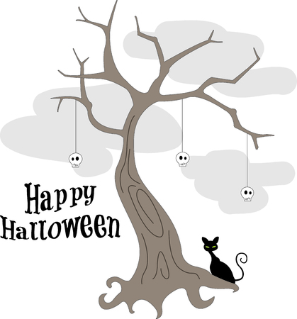 bases: A spooky black kitty watches over this frightful tree decorated with skulls.  Here is a Halloween design that covers all the bases for frightfulness!