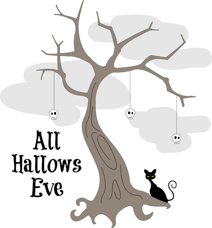 frightfulness: A spooky black kitty watches over this frightful tree decorated with skulls.  Here is a Halloween design that covers all the bases for frightfulness!