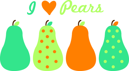 snap: A border of colorful and modern pears make an edge unlike any you have seen.  Lovely kitchen towels are a snap with this border. Illustration
