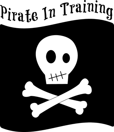 privateer: Pirates are here!  They are a fun and happy group of buccaneers.  Decorate some gear for your little pirate with this whimsical design. Illustration