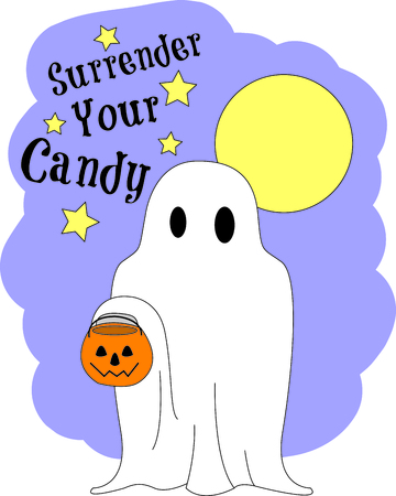 haunt: Trick or treat!  Our little goblin has arrived in search of Halloween treats.  So very cute onto a Halloween bag.