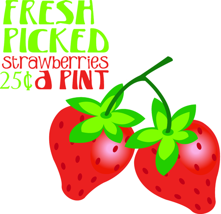25 cents: Yummy, delicious strawberries are a sweet summer treat.  This beautiful design stitches summertime right onto your fabric creation!