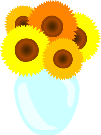 delight: Nothing says summer quite like sunflowers.  This stunning vase of sunflower stems make your project a summer delight. Illustration