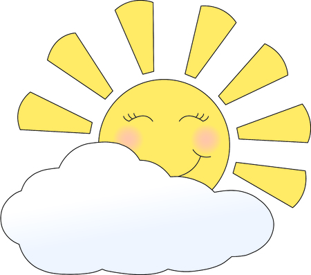 greet: Good morning sunshine.  Greet the day with this sweet and happy sun rise.  Great design for countless projects. Illustration