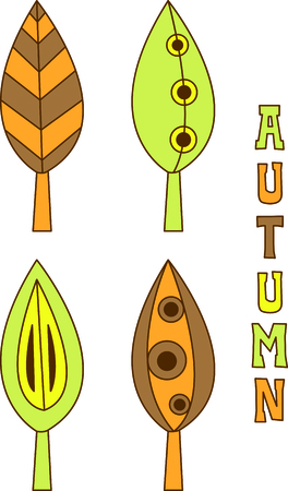 fall leaves: Pretty leaves bring both the color and shapes of fall.  Geometric shapes and lines make these leaves a unique decoration wherever you choose to use them. Illustration