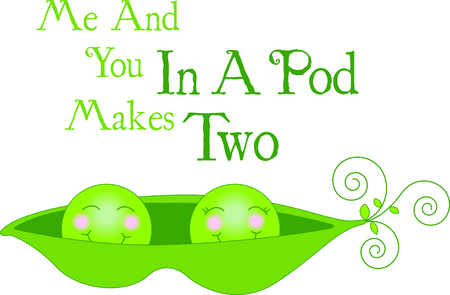 Cute as two peas in a pod - and just alike.  Swirly stems complete the sweet look. Illustration