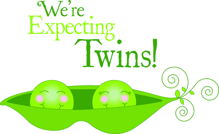 Cute as two peas in a pod - and just alike.  Swirly stems complete the sweet look. Stock Illustratie