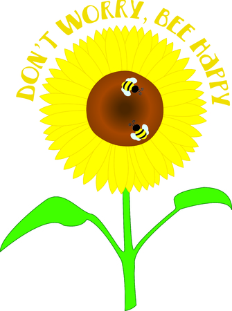petal: Big, bright, yellow sunflowers are a summertime treat for the eyes and these little bees.  Use this lovely design to bring summer to your work no matter the season.