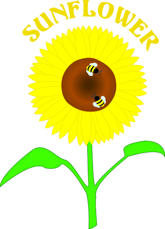 long stem: Big, bright, yellow sunflowers are a summertime treat for the eyes and these little bees.  Use this lovely design to bring summer to your work no matter the season.