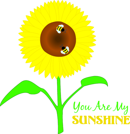 Big, bright, yellow sunflowers are a summertime treat for the eyes and these little bees.  Use this lovely design to bring summer to your work no matter the season.