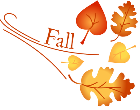 wind blown: Leaves are turning and falling to the ground.  It must be Autumn.  The colors of the Autumn leaves create a perfect opportunity for embroidery creativity. Illustration