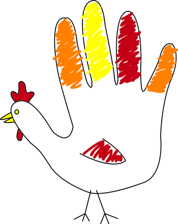 Every child does a hand turkey for the Thanksgiving pre-school project.  Here's one in stitches for a very special Thanksgiving decoration. 向量圖像