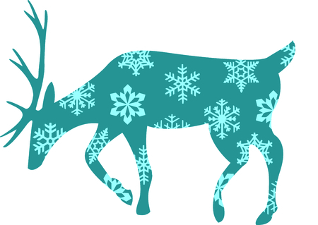 Send holiday cheers with this beautiful reindeer with snowflakes. Ilustração