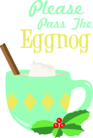 eggnog: This perfect mug of eggnog is a great design for this winter.