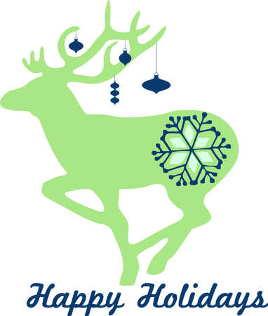 flurry: Send holiday cheers with this beautiful reindeer with snowflakes. Illustration