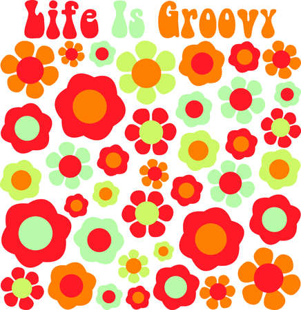 Groovy petals of retro colors make the perfect throw back backdrop.  Intricate and detailed stitch patterns make for a very attractive finished stitching. Illustration