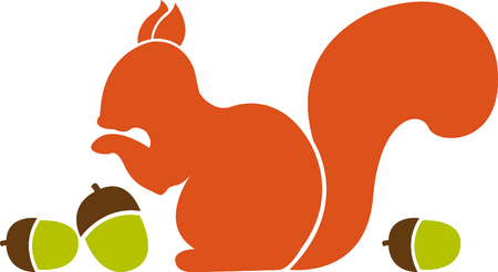 nutty: This squirrel is just nutty about acorns!  The silhouette is simple to stitch yet creates a stunning effect.
