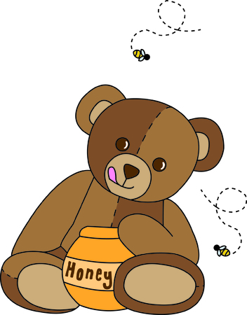 stuffed animal: Its time for this cute bear to enjoy a sweet treat! Add this taste of honey to your favorite project.