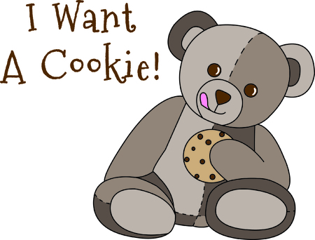 sweetest: Share a sweet treat with this cute little bear.  If he wasnt the sweetest thing already, a cookie makes it just perfect.